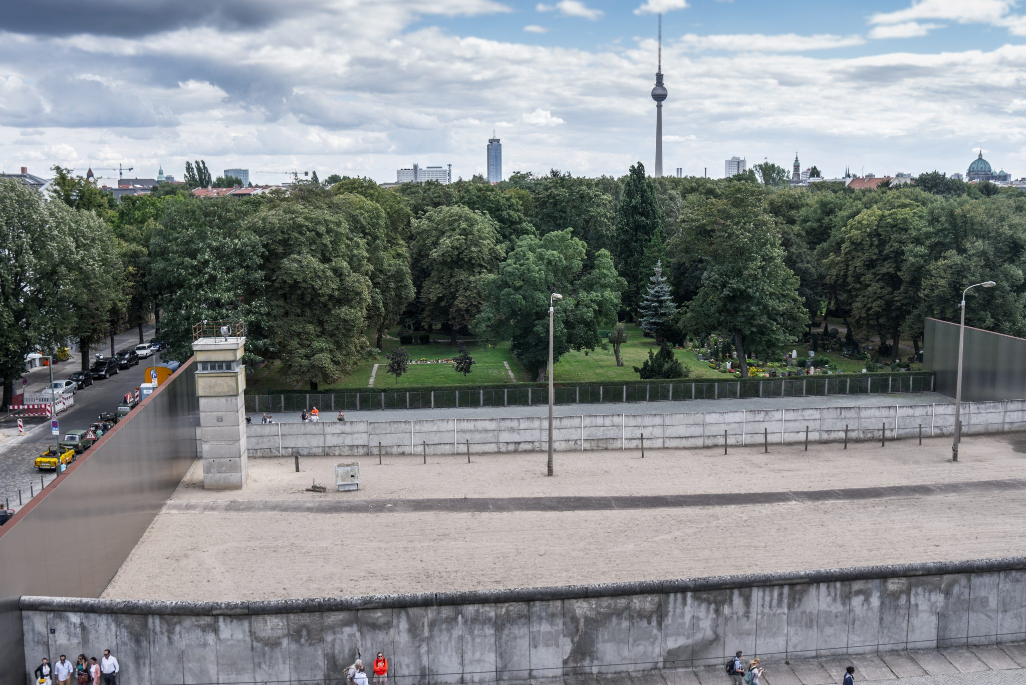 Total view over Berlin Wall memorial border area, Bernauer Strasse