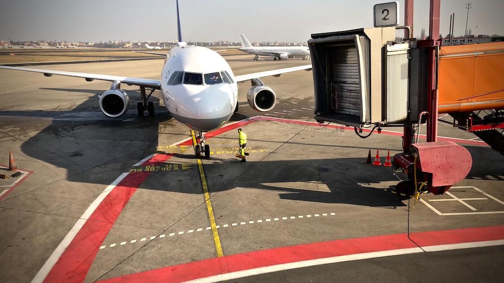 Lufthansa Airbus docking to passenger bridge at Berlin Tegel airport