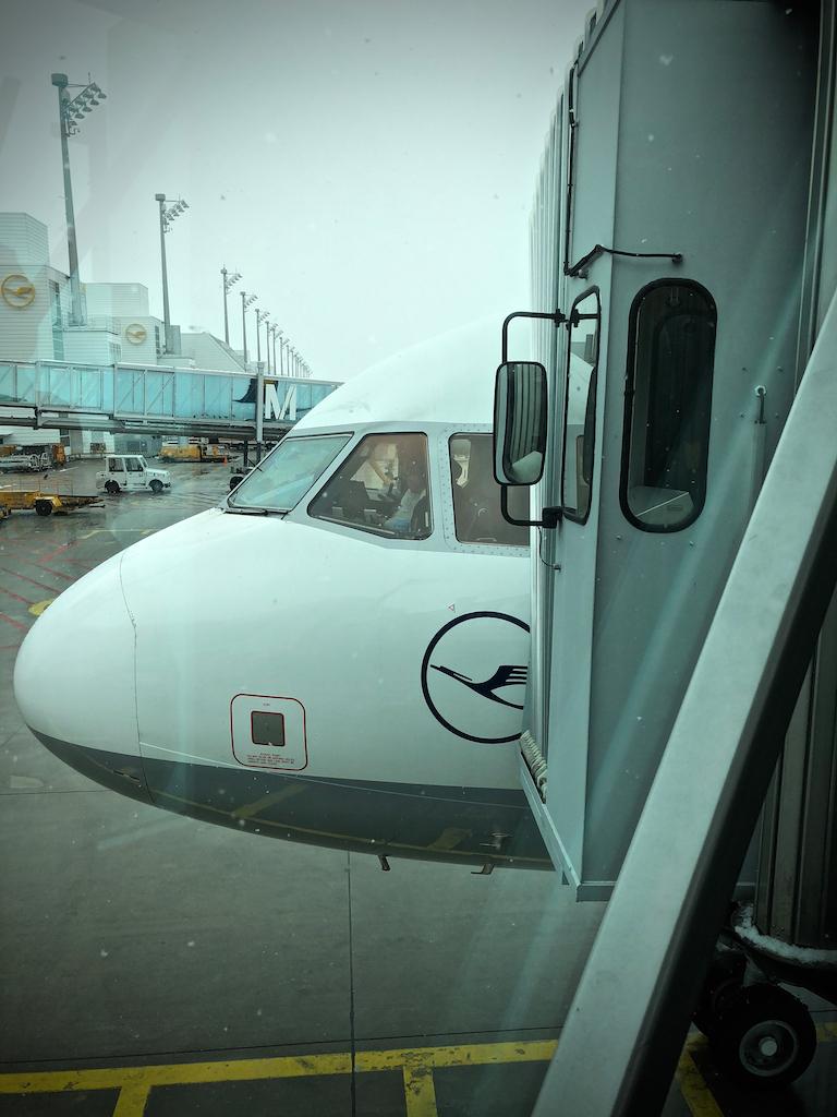 Lufthansa Airbus cockpit at boarding at Munich airport